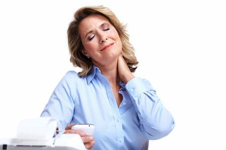 Business vrouw met een hoofdpijn