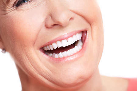 blonde close up: Happy woman smile