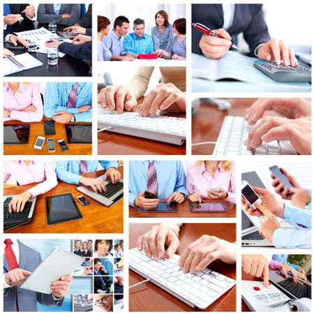 technology collage: Group of business people  Stock Photo