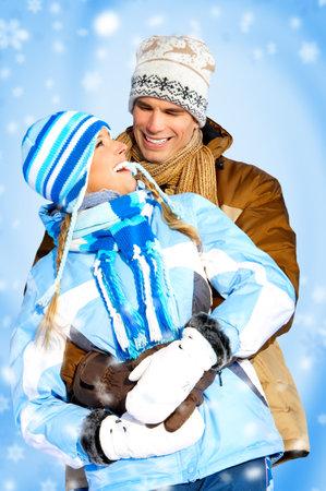 couple winter: Happy couple