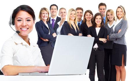 Appelez femme d'affaires centre d'opérateur Banque d'images - 15747014