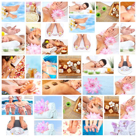 salon background: Beautiful Spa massage collage  Stock Photo