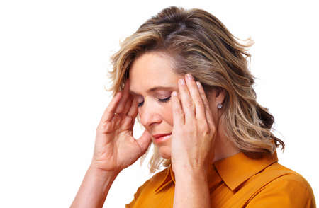 Senior woman having stress  photo