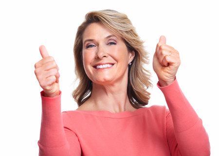 european expression face: Happy senior woman