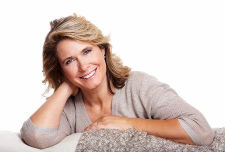 mature woman face: Happy senior woman