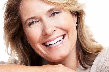 smile close up: Happy senior woman