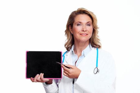 uniforme medico: M�dico mujer con Tablet PC Foto de archivo