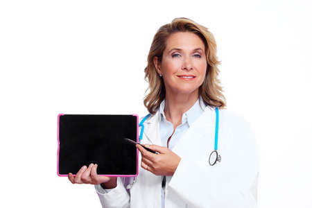 tablet: Medical doctor woman with tablet computer  Stock Photo