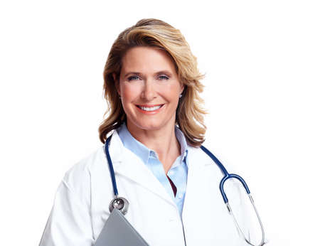 happy doctor woman: Smiling medical doctor woman with stethoscope