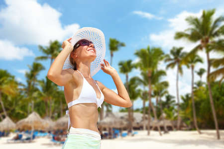 mexican girl: Happy beautiful woman on the beach. Vacation. Stock Photo