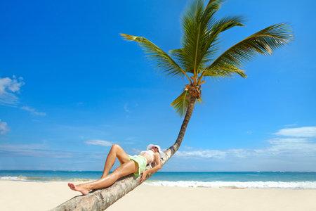hot legs: Happy beautiful woman on the beach. Vacation. Stock Photo