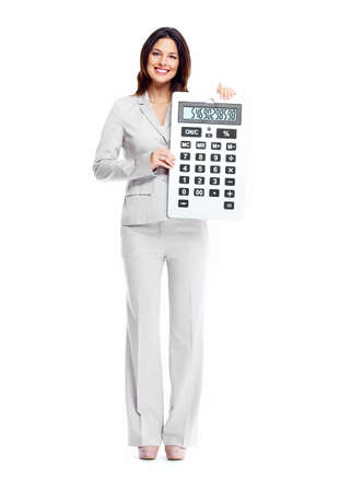 Beautiful young business woman with calculator isolated on white background. 版權商用圖片