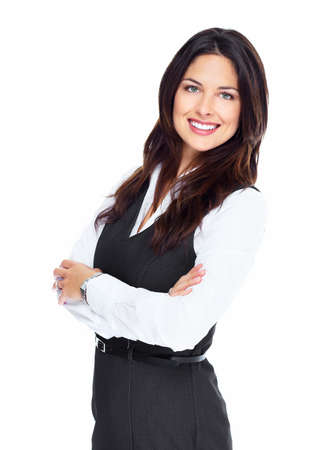business woman standing: Portrait of happy young business woman isolated on white background