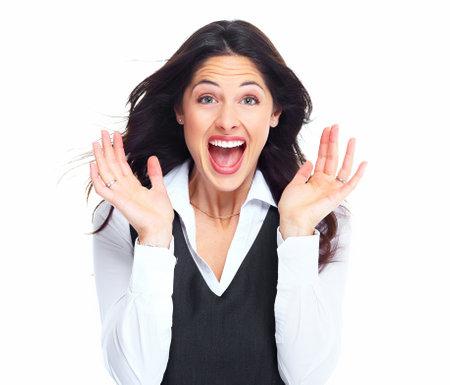 �tonnement: Portrait d'une femme d'affaires heureux jeune isol� sur fond blanc