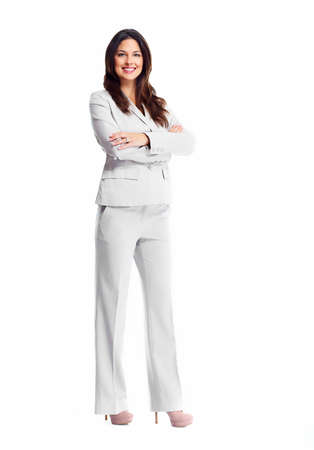 Beautiful young business woman isolated on white background. Stock Photo - 16275420