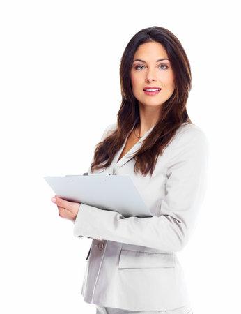 Retrato de la mujer feliz empresa joven aislado sobre fondo blanco