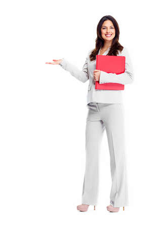Beautiful young business woman isolated on white background. photo
