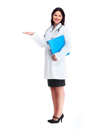 Smiling medical doctor woman with stethoscope. Isolated over white background. Stock fotó