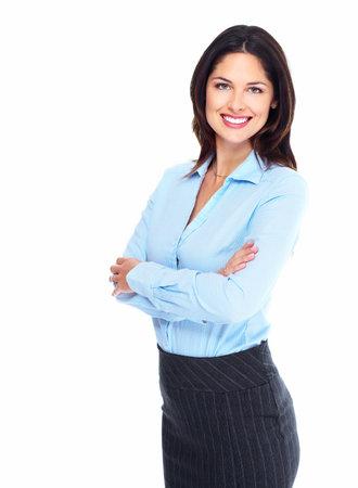 흰색 배경에 고립 된 행복 젊은 비즈니스 여자의 초상화 스톡 콘텐츠