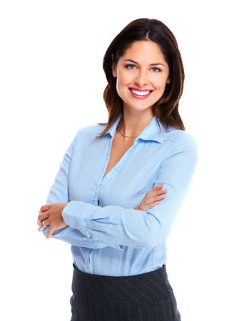 woman smiling: Portrait of happy young business woman isolated on white background