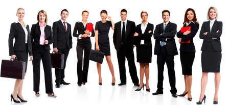 Group of business people  Business team  Isolated over white background