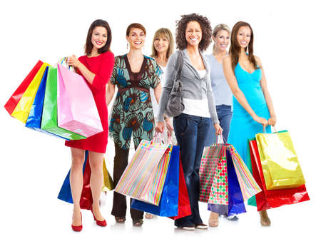 beauty shop: Group of  woman with shopping bags  Isolated over white background