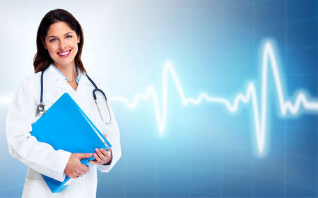 Smiling medical doctor woman  Health care background  photo
