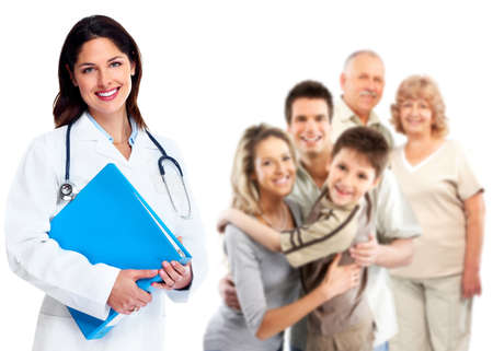 medico con paciente: Sonriente mujer m�dico familiar Salud antecedentes atenci�n Foto de archivo