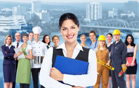 industrial: Business woman with blue folder and a group of business person