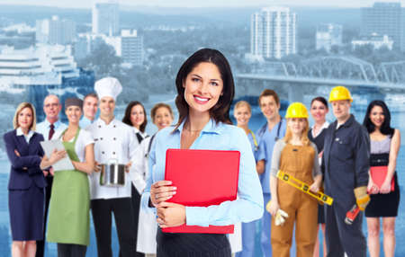 Business woman with red folder and a group of business person  Imagens