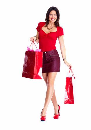 compras chica: Mujer hermosa de las compras. Aislado sobre fondo blanco.