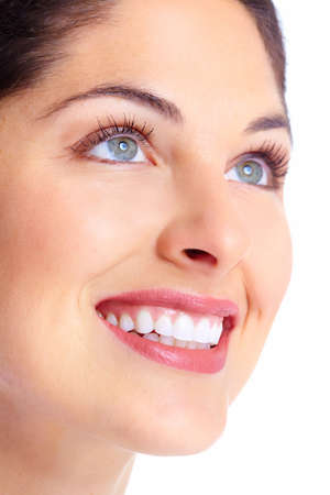 smile teeth: Beautiful young woman face. Dental health.