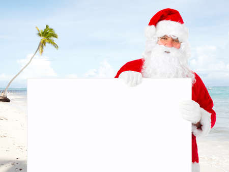 Santa claus with banner Stock Photo - 16184907