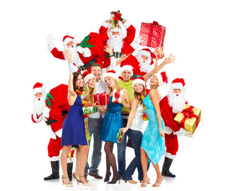 Christmas Santa and a group  of happy people Stock Photo - 16185187