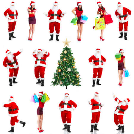 Christmas santa and woman with shopping bags  photo