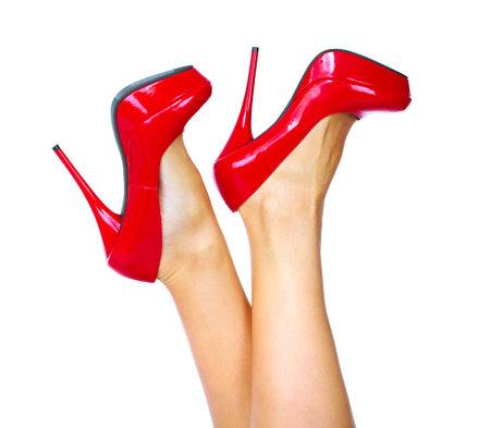 Vrouw benen met een rode sexy schoenen Stockfoto