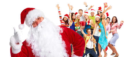 euphoria: Christmas Santa and a group  of happy people  Stock Photo