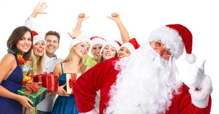 Christmas Santa and a group  of happy people  photo