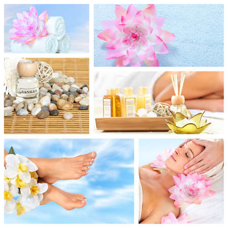 Beautiful Spa massage collage  Stock Photo
