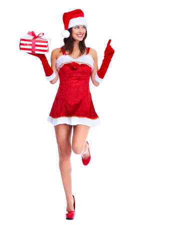 Santa helper Christmas girl with a present  photo