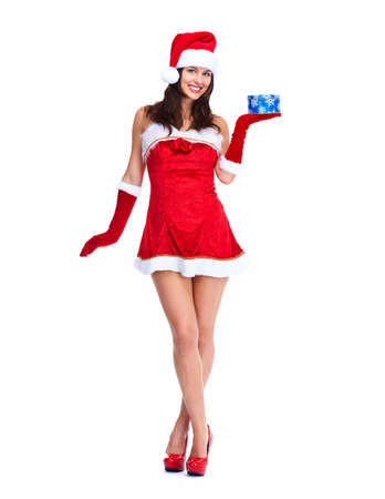 Santa helper Christmas girl with a present  Stock Photo