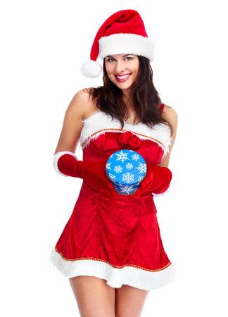 santa helper: Santa helper Christmas girl with a present  Stock Photo