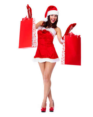 Santa helper Christmas girl with shopping bags Stock Photo - 16239176