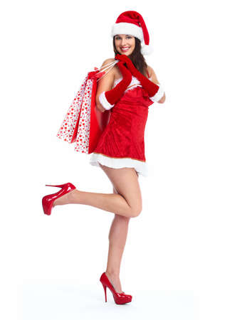 Santa helper Christmas girl with shopping bags  photo