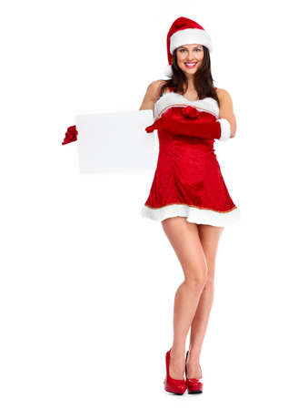 santa helper: Santa helper Christmas girl with a banner