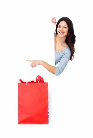 Beautiful shopping Christmas woman with bag Stock Photo - 16254107