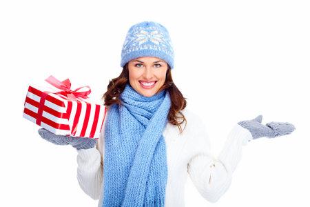Beautiful christmas girl with gifts