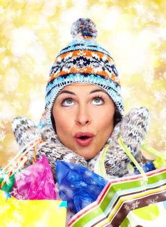 Beautiful christmas girl with shopping bags  Stock Photo - 16336243