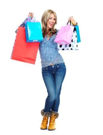 filles shopping: Belle femme avec des sacs de magasinage