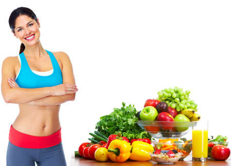 lose: Young healthy woman with fruits